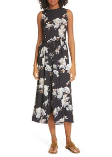 Vince Peony Print Shirred Drawstring Midi Dress