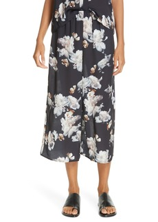 Vince Peony Print Silk Culottes