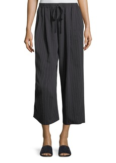 Vince Pinstripe Drawstring Wide-Leg Crop Pants