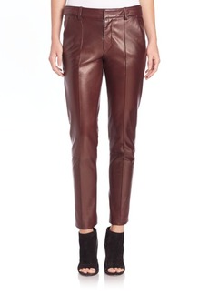 Vince Pintucked Leather Trousers
