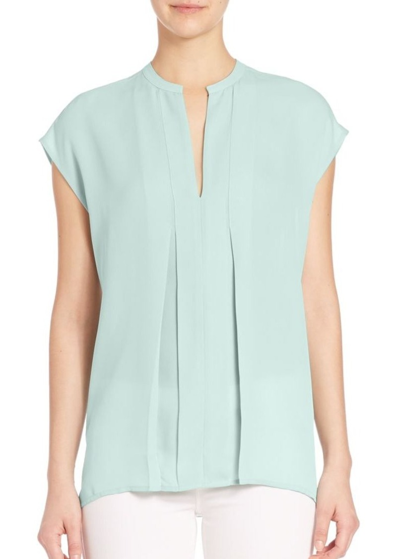Vince Pintucked Silk Blouse