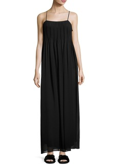 Vince Pintucked Silk Sleeveless Maxi Dress