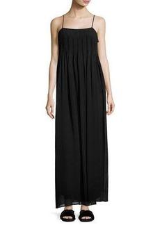 Vince Pintucked Silk Sleeveless Maxi Dress