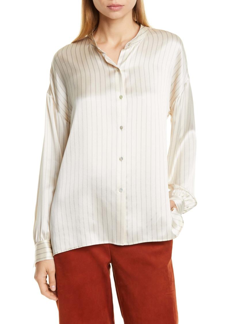 Vince PJ Stripe Silk Blouse