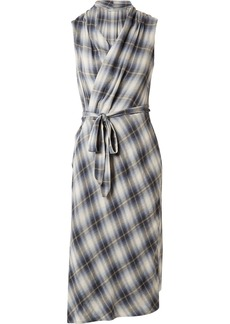 Vince Plaid cotton-blend wrap midi dress