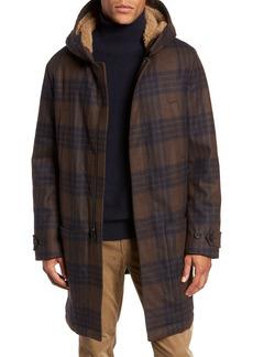 Vince Plaid Duffle Coat with Faux Shearling Trim