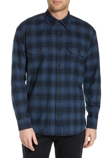 Vince Slim Fit Plaid Flannel Overshirt