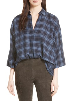 Vince Plaid Oversize Blouse