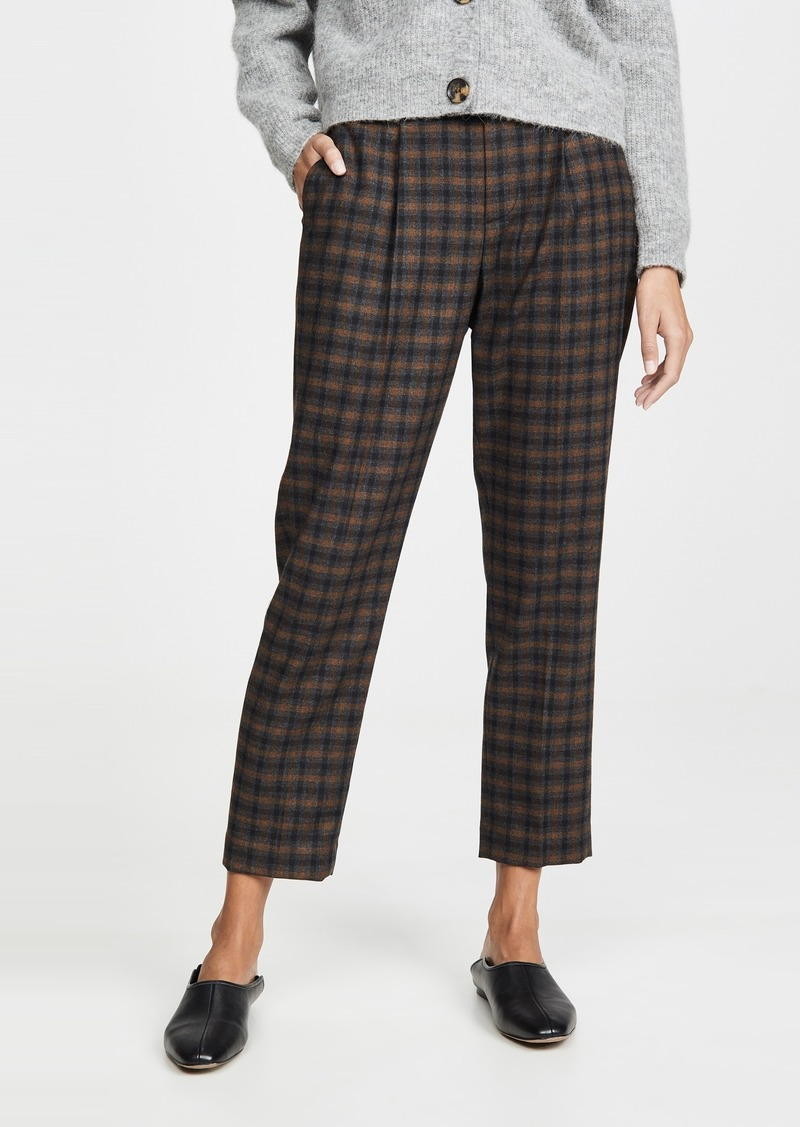 Vince Plaid Pull On Pants