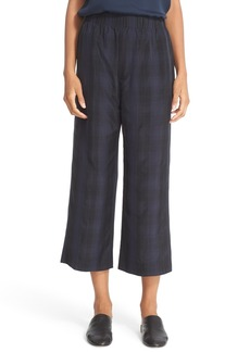 Vince Plaid Slouchy Pull-On Crop Pants