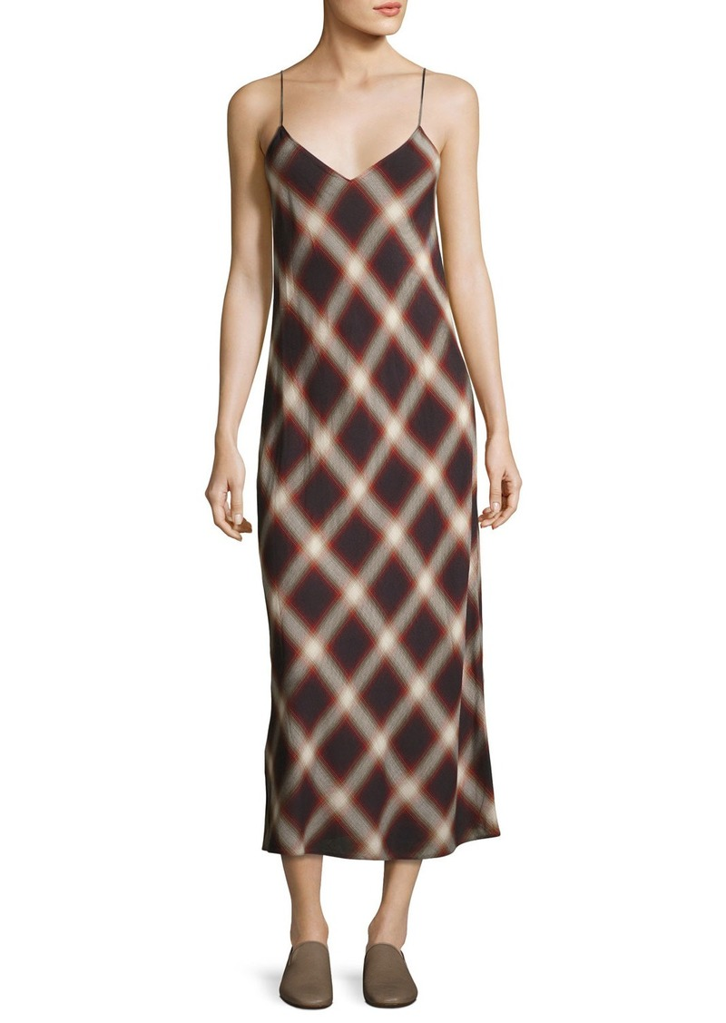 Vince Plaid V-Neck Slip Midi Dress