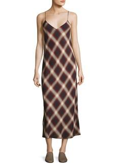Vince Plaid V-Neck Slip Midi Dress