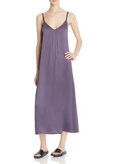 Vince Pleat-Neck Silk Crepe Slip Dress