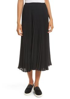 Vince Pleated Chiffon Midi Skirt