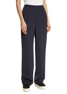 Vince Pleated Crepe Pull-On Trousers