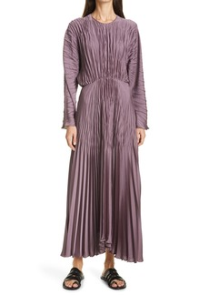 Vince Pleated Long Sleeve Satin Dress