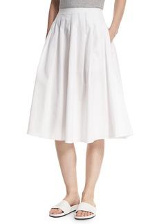 Vince Pleated Midi A-Line Skirt