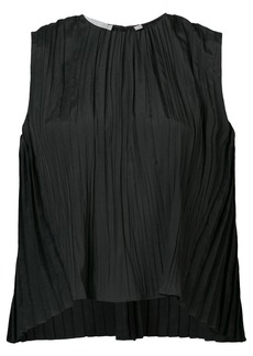Vince pleated round neck blouse - Black