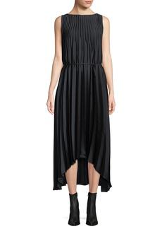 Vince Pleated Self-Tie High-Low Midi Dress