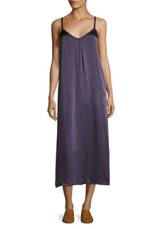 Vince Pleated Silk Crepe Slip Dress