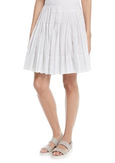 Vince Pleated Striped Cotton Skirt