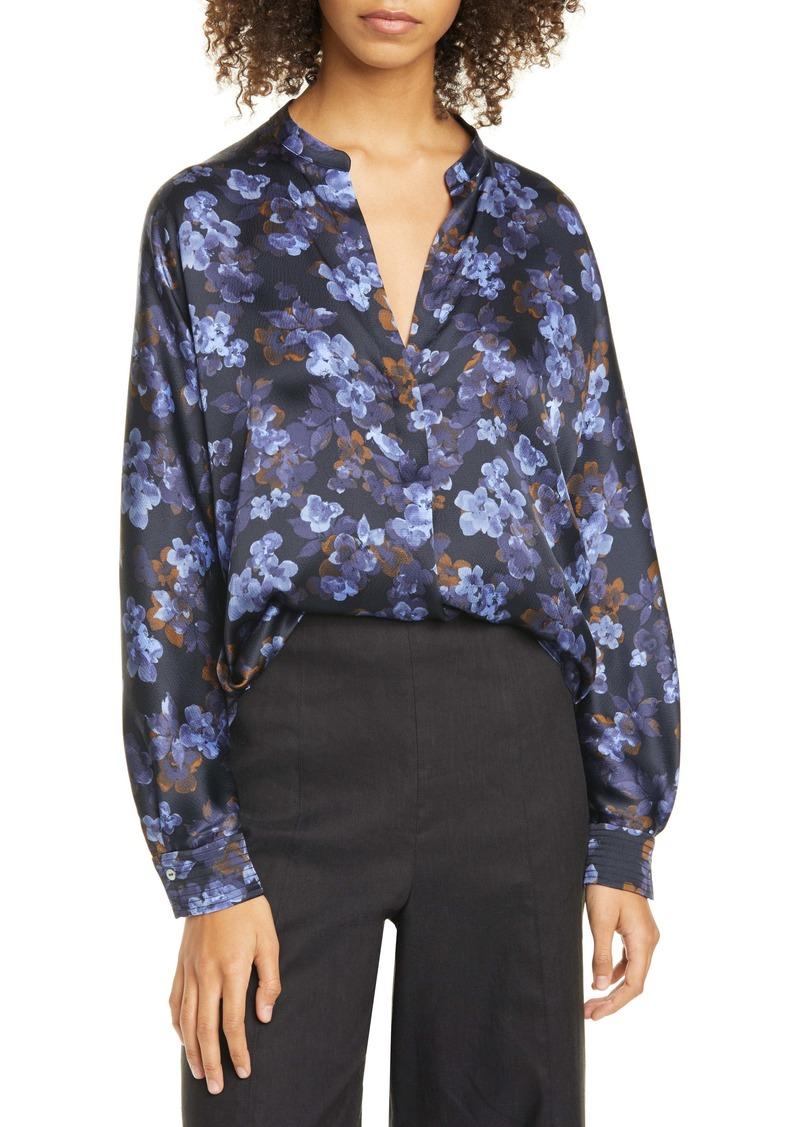 Vince Plumeria Blooms Split Neck Silk Blouse