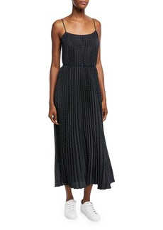 Vince Polka-Dot Pleated Cami Dress