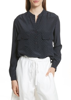 Vince Polka Dot Silk Utility Shirt