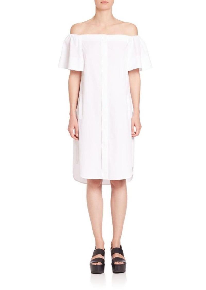 Vince Poplin Off-The-Shoulder Dress