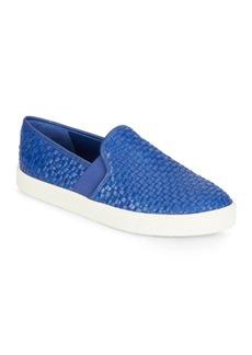 Vince Preston Woven Leather Slip-On Sneakers