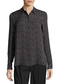 Vince Printed Hidden-Button Silk Blouse