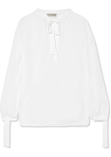 Vince Pussy-bow silk-georgette blouse