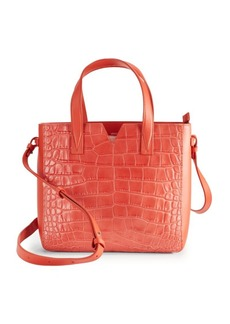 Vince Signature V Baby Crocodile-Embossed Leather & Smooth Leather Tote