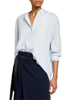 Vince Raw-Edge Long-Sleeve Button-Down Shirt