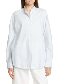 Vince Raw Edge Oversize Cotton & Silk Blouse