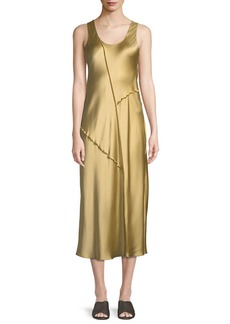 Vince Raw-Edge Silk Tank Dress