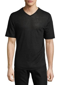 Vince Raw Edge V-Neck Linen T-Shirt