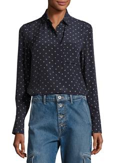Vince Refined Dot Slim Silk Shirt