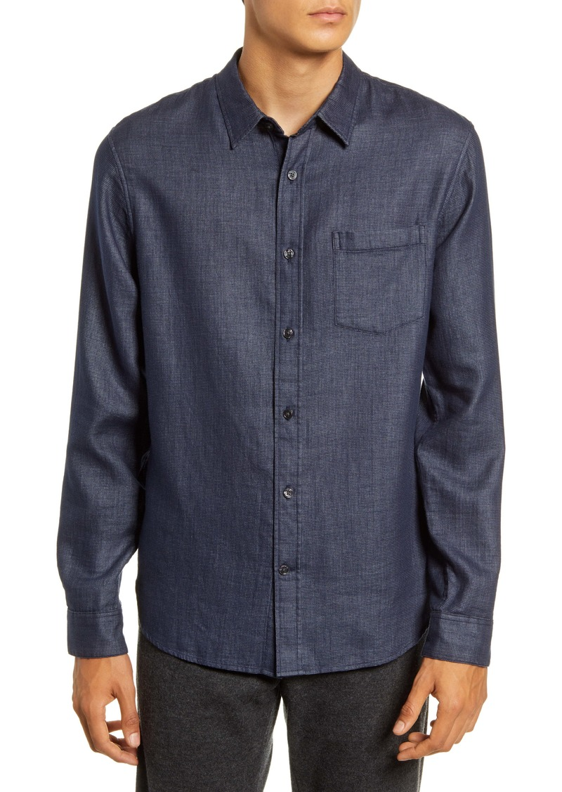 Vince Regular Fit Jacquard Button-Up Shirt