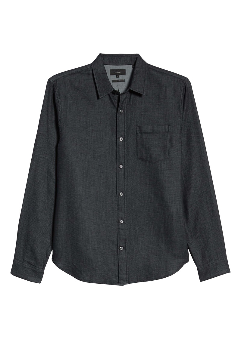 Vince Regular Fit Jacquard Button-Up Shirt