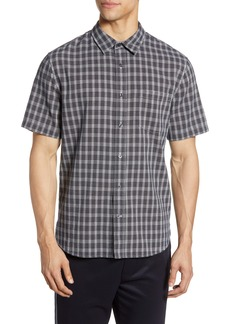 Vince Regular Fit Mini Plaid Short Sleeve Button-Up Shirt