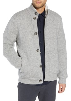 Vince Slim Fit Wool Sweater with Faux Fur Lining