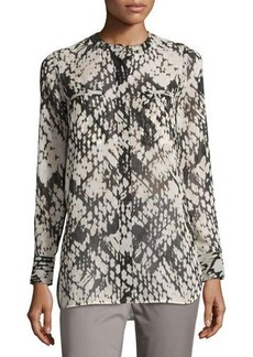 Vince Relaxed Graphic-Print Silk Top