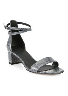 Vince Rianne Snakeskin-Embossed Leather Block-Heel Sandals