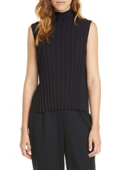 Vince Rib Front Sleeveless Turtleneck Top
