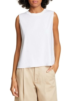 Vince Rib Knit Detail Sleeveless Linen Blend Top