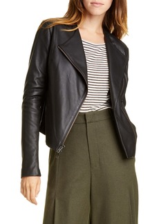 Vince Rib Panel Leather Jacket
