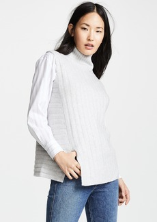Vince Rib Sleeveless Turtleneck Sweater