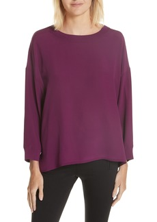 Vince Rib Trim Silk Blouse