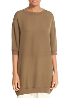 Vince Rib Trim Silk Tunic